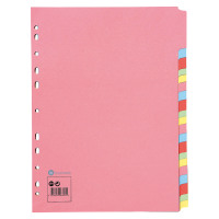 Business Subject Dividers 20-Part Recycled Card Multipunched 155gsm A4 Assorted