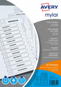 Avery Mylar Numeric Divider 1-10 A4 Bright White 05248061