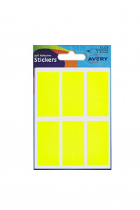 Avery Packets of Labels Rectangular 50x25mm Neon Yellow Ref 32-223 [10x36 Labels]