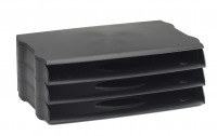Avery DTR Eco Letter Tray Wide Entry Stackable Set of 3 Black Ref DR800BLK [Pack 3]