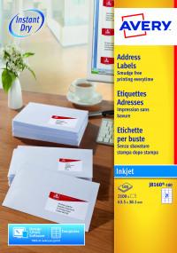 Avery White Inkjet Address Labels 63.5 x 38.1mm 21 Per Sheet (Pack of 2100) J8160-100