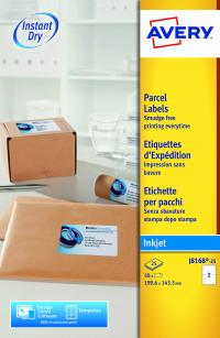 Avery Inkjet Parcel Labels QuickDRY 199.6 x 143.5mm 2 Per Sheet White (Pack of 50) J8168-25