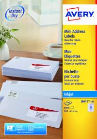 Avery Mini White Inkjet Label 38.1 x 21.2mm 65 Per Sheet (Pack of 6500) J8651-100