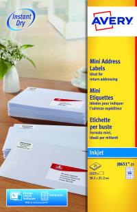 Avery Mini White Inkjet Label 38.1 x 21.2mm 65 Per Sheet (Pack of 1625) J8651-25