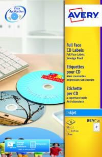 Avery Inkjet CD Labels Full Face 2 Per Sheet Wht (Pack of 50) J8676-25