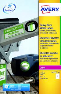 Avery Laser Label Heavy Duty 1 Per Sheet White (Pack of 20) L4775-20