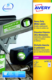 Avery Laser Label Heavy Duty 48 Per Sheet White (Pack of 960) L4778-20