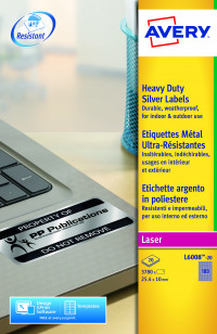 Avery Laser Label Heavy Duty Silver 189x20 Sheets (Pack of 3780) L6008-20