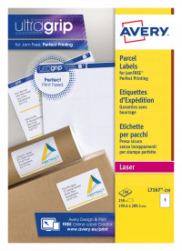 Avery Laser Parcel Labels 199.6x289.1mm 1 Per Sheet White (Pack of 250) L7167-250