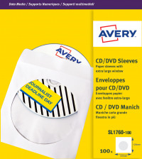 Avery Paper CD/DVD Sleeve XL Window White (Pack of 100) SL1760-100
