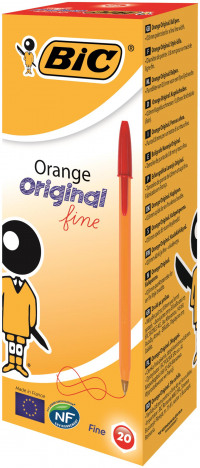 Bic Orange Fine Ballpoint Red Ink Pen (Pack of 20) 1199110112