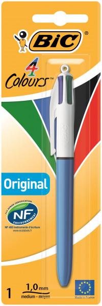 Bic 4-Colour Ball Pen Medium 1.0mm Tip 0.32mm Line Blue Black Red Green Ref 802077
