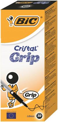 Bic Black Cristal Grip Medium Ballpoint Pen (Pack of 20) 802800