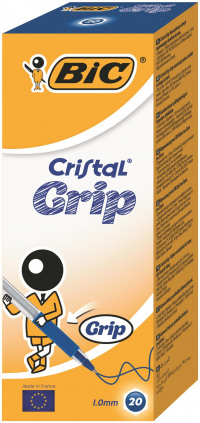 Bic Blue Cristal Grip Medium Ballpoint Pen (Pack of 20) 802801
