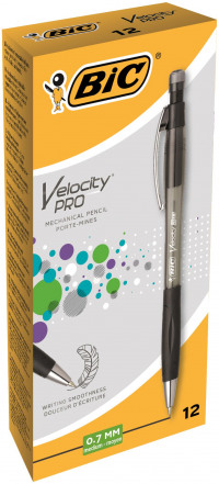 Bic Velocity Mechanical Pencil Comfort Grip Retractable With 3 X Hb 0 7mm Lead Ref
