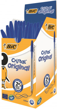 Bic Cristal Ball Pen Clear Barrel 1.0mm Tip 0.32mm Line Blue Ref 8373602 [Pack 50]