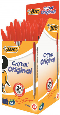 Bic Cristal Ball Pen Clear Barrel 1.0mm Tip 0.32mm Line Red Ref 8373612 [Pack 50]