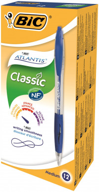 Bic Atlantis Retractable Ballpoint Pen Medium Blue (Pack of 12) 1199013670