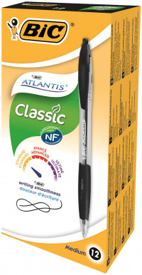 Bic Atlantis Ball Pen Retractable Cushioned Grip Black Ref 887132 [Pack 12] [FREE Briteliner Grip x5]