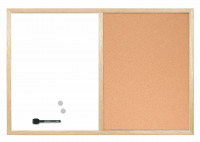 Bi-Office Wood Frame Cork/Drywipe Board 600x400mm MX03001010