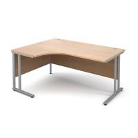 Maestro 25 SL Left Hand Ergonomic Desk 1600mm Silver Cantilever Frame Beech Top