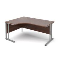 Maestro 25 SL left hand ergonomic desk 1600mm - silver cantilever frame, walnut top