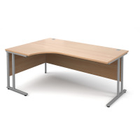 Maestro 25 SL Left Hand Ergonomic Desk 1800mm Silver Cantilever Frame Beech Top