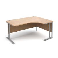 Maestro 25 SL Right Hand Ergonomic Desk 1600mm Silver Cantilever Frame Beech Top