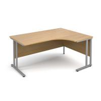 Maestro 25 SL Right Hand Ergonomic Desk 1600mm Silver Cantilever Frame Oak Top