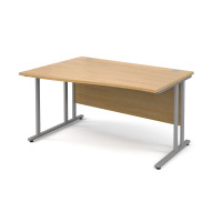 Maestro 25 SL Left Hand Wave Desk 1400mm Silver Cantilever Frame Oak Top