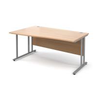 Maestro 25 SL left hand wave desk 1600mm - silver cantilever frame, beech top