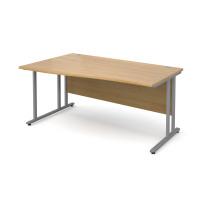Maestro 25 SL Left Hand Wave Desk 1600mm Silver Cantilever Frame Oak Top