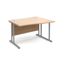 Maestro 25 SL right hand wave desk 1200mm - silver cantilever frame, beech top