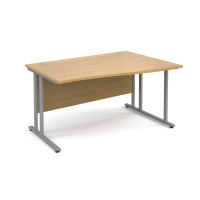 Maestro 25 SL 1400mm Right Hand Double Upright Cantilever Wave Desk Silver/Oak
