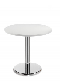 Pisa circular table with round chrome base 600mm - white