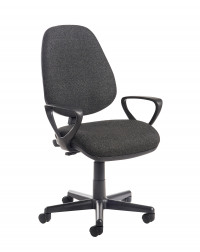 Bilbao fabric operators chair with fixed arms - charcoal