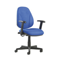 Bilbao fabric operators chair with lumbar support and adjustable arms - blue