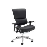 Dynamo Ergo Leather Posture Chair With Chrome Base - Black