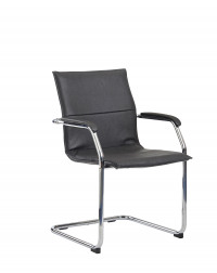 Essen meeting room cantilever chair - black faux leather