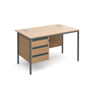 Maestro H-Frame straight desk with 3 drawer pedestal 1228mm - beech