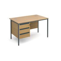 Maestro H frame straight desk with 3 drawer pedestal 1228mm - oak