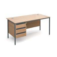 Maestro H-Frame straight desk with 3 drawer pedestal 1532mm - beech