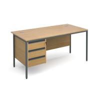 Maestro H-Frame straight desk with 3 drawer pedestal 1532mm - oak