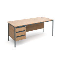 Maestro H frame straight desk with 3 drawer pedestal 1786mm - beech