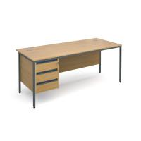 Maestro H frame straight desk with 3 drawer pedestal 1786mm - oak