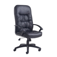 King black leather faced managers chair