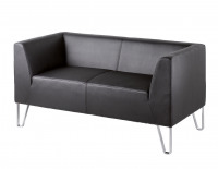 Linear Two seater Black Faux leather designer tapered frame Sofa