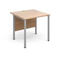 Maestro 25 SL Straight Desk 800x800mm Silver H Frame Beech Top