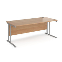 Maestro 25 SL straight desk 1800mm x 800mm - silver cantilever frame, beech top