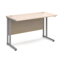 Maestro 25 Sl Silver Double Upright Cantilever Desk 1200W X 600D Maple 25mm Top 18mm Back Panel